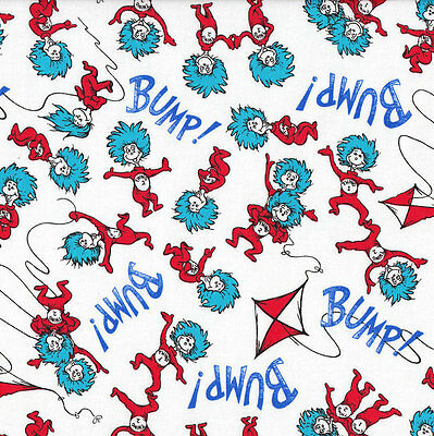 Dr Seuss Bump Thing 1 Thing 2 Kids Quilting Fabric FQ or Metre *New*