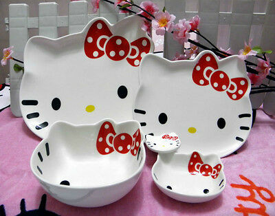 CERAMIC Bowl & Plate 5 pcs Hello Kitty Face White Color Red Bow Cute Design Set