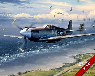 Wwii P-51 Mustang Plane Over Normandy Painting Us History Art Real Canvas Print