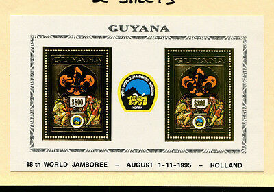 Guyana 1995 Scouts Chess Unlisted Gold Foil Sheets Michel BL 236-37 varieties