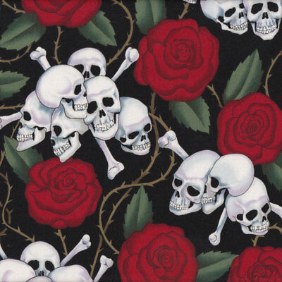 Skulls and Red Roses on Black Quilt Fabric FQ or Metre *New*