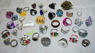 Lot Of Vintage Lucite Rings & Assorted Contemporary Rings