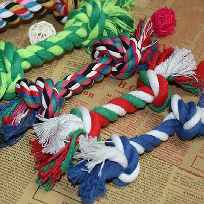 Lovely Puppy Dog Pet Toy Cotton Braided Bone Rope Teeth Clean Tug Chew Knot