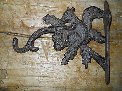 Cast Iron SQUIRREL Garden Plant Hook Rustic BROWN Finish Hooter