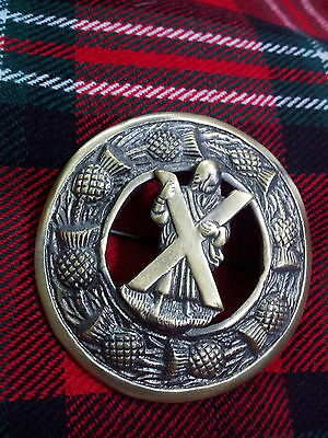 """TC ST Andrew Fly Plaid Brooch Antique Finish 3""""/Highland Kilt Fly Plaid Brooches"""