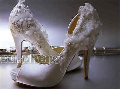 Ivory satin lace bow open toe platform heels Bridal wedding shoes size crystal