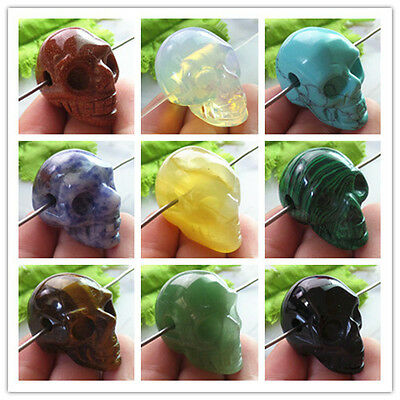 Wholesale Carved Mixed Gemstone Skull Pendant Bead ZD006
