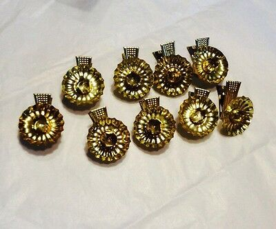 Vtg Christmas Tree Clip On Candle Holders Metal Tin Lot Of 9