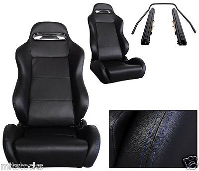 2 Black Leather + Blue Stitch Racing Seats Reclinable + Sliders Volkswagen New *