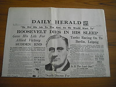 WW2 WARTIME NEWSPAPER - DAILY HERALD - APRIL 13th 1945