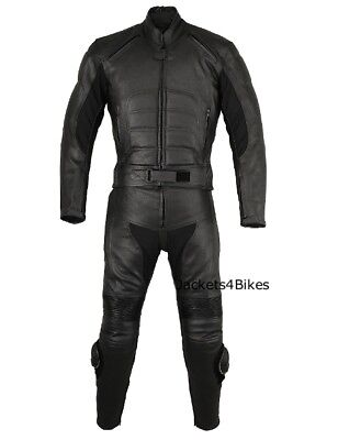 2Pc Motorcycle Bike Leather Racing Riding Suit Armor
