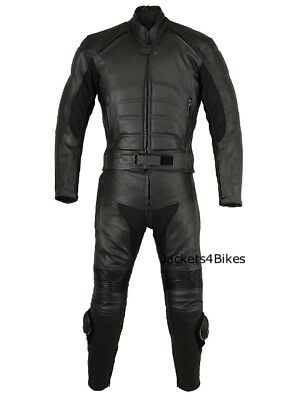New Men's 2PC Motorcycle Leather Riding Black Armor Suit 2 PC Two Piece US