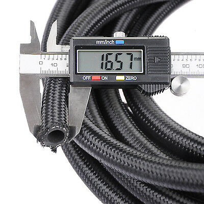AN8 Black Nylon Stainless Steel Braided -8AN Fuel Hose Oil Gas By Meter 1 meter