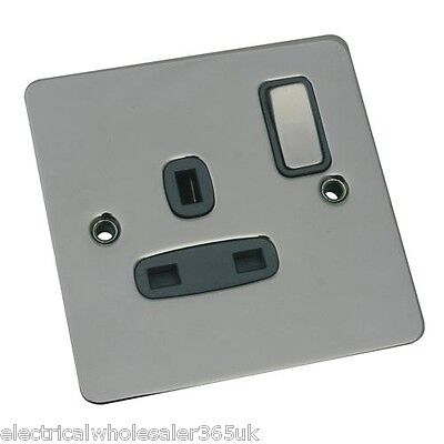1 Gang 13A Flat Switched Socket SATIN CHROME Black Inserts *Free Post* CEDFSSK1B