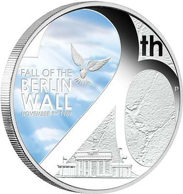 Tuvalu 2009 $1 20th Anniversary Fall of the Berlin Wall 1 Oz Silver Proof Coin