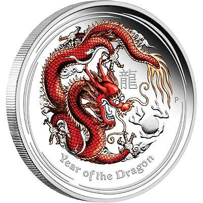 Australia 2012 Lunar Silver Coin II Year of the Dragon Red 1oz Silver Proof Coin