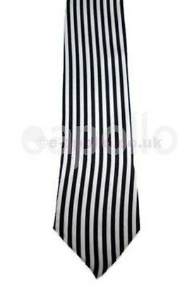 Unisex Novelty Fancy Dress Black Skinny Tie Black & White Stripe - Brand New