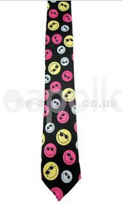 Unisex Novelty Fancy Dress Black Tie With Colour Smiley Faces - Brand New