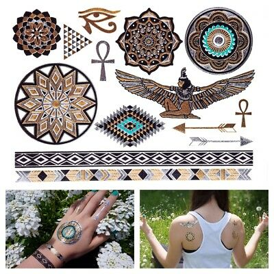 GOLD Tattoo Flash Tattoos orientalisch ägyptische Ornamente Einmaltattoos YS-48
