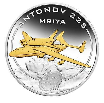 Cook Islands 2008 $1 Antonov An-225 Mriya 1 Oz Silver Proof Coin Gold-Gilded