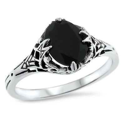 Genuine Black Agate .925 Sterling Vintage Antique Style Silver Ring,        #759