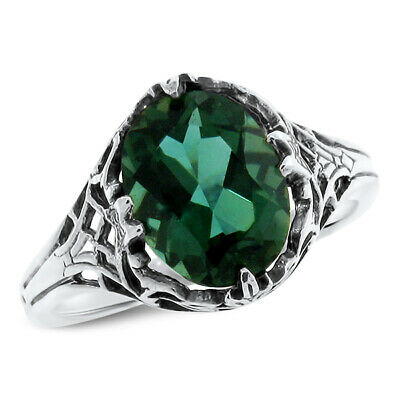 Green Lab Amethyst .925 Sterling Victorian Antique Design Silver Ring, #766