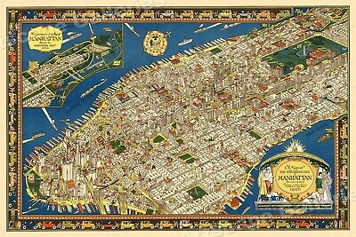 Manhattan 1926 New York City Pictorial Map - 16x24