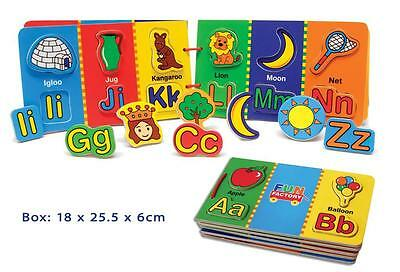 NEW Fun Factory Childrens Wooden Magnetic Alphabet Book