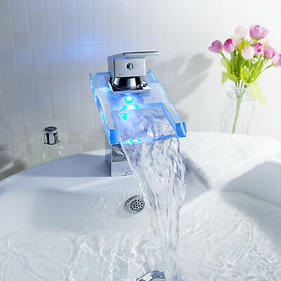 LED Waterfall Square Glass Bathroom Faucet Sink Tap Basin Mixer Chrome Brass