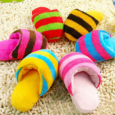 Up 1Pc Dog Toy Pet Puppy Chew Play Squeaker Squeaky Sound Plush Slipper Shape