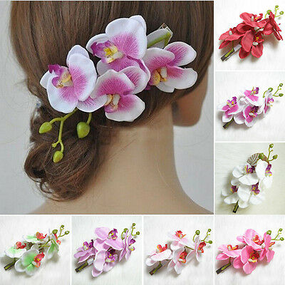 Fashion Women Artifical Orchid Flower Hair Clip Bridal Party Wedding Beach Decor