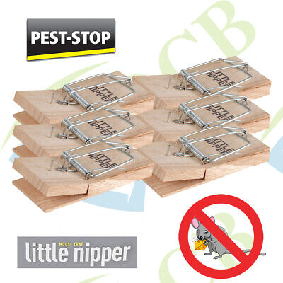6x LITTLE NIPPER Wooden MOUSE TRAPS Reusable Pest Control Stop Rodents Bait Mice