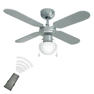 Modern Remote Control 4 Blade Reversible Silver / Black Ceiling Fan with Light