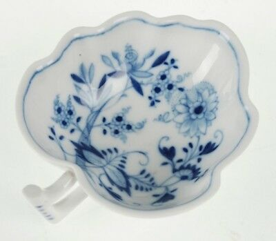 Vintage Meissen Blue Onion Leaf Form Dish W/ Handle
