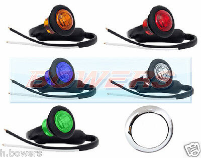 "12V/24V 1"" White Amber Red Blue Green Small Round Led Button Marker Lights Lamps"