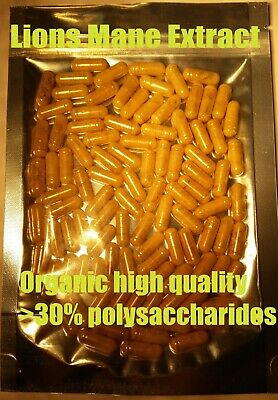 Lions mane 13:1 Extract 100 Caps  - Organic high quality >30% polysaccharides