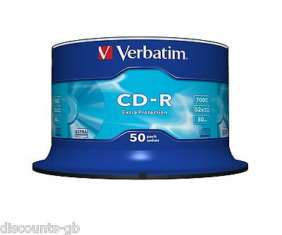 Verbatim 43351 700MB 52x 80min CD-R Discs Extra Protection 50 Pack Spindle CDs