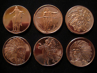 6 Ounce .999 Copper Round American Indian Series(6 Coins)