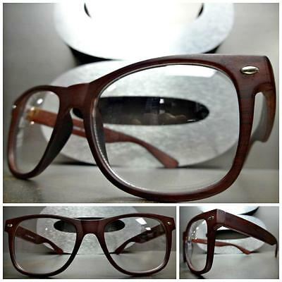 CLASSIC VINTAGE Style Clear Lens EYE GLASSES Wood Wooden Effect Fashion Frame