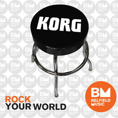 Korg Guitar Stool Studio Bar Stool, Black Vinyl Swivel Seat, Chromed Frame - BM
