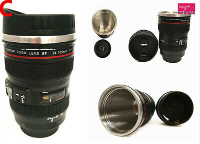 New Stainless Steel Thermos Camera Lens Cup 24-105 Coffee Tea Travel Mug Type C