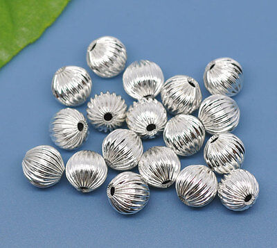 50 HOT SALE Silver Plated Corrugated ROUND SPACER BEADS 10mm