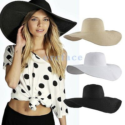 Nice Foldable Beach Summer Sun Hat Floppy Wide Large Brim Straw For Women Ladies