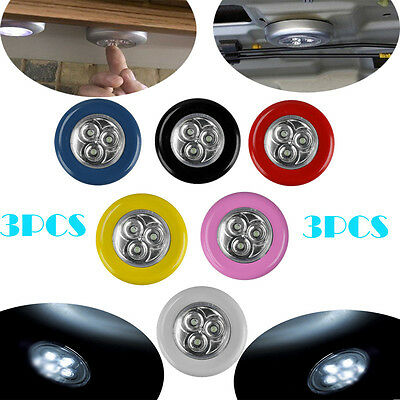 3X 3LED Battery Operated Stick On Tap Light Bulb Car Home Wireless Touch Lamp