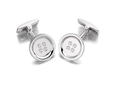 Hoxton London Mens Jewellery Sterling Silver and CZ Button Cufflinks