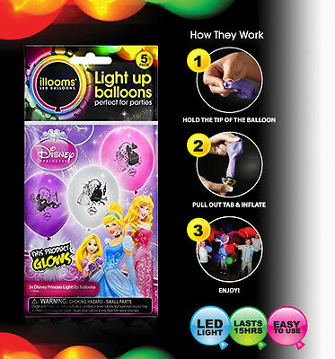 10 x illooms Disney Princess Light-Up LED Balloons 15 Hours Party Birthday Kids