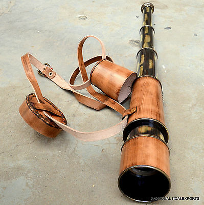 VINTAGE Nautical Marine Spyglass Solid Brass Telescope with Leather case
