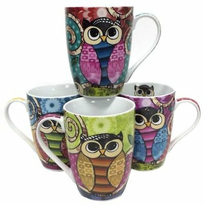 Coffee Mug Owl Bird Design Drinking Tea Ceramic Cups Mugs Set/4