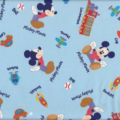 Mickey Mouse Cars Planes Trains Boys Kids Licensed Fabric FQ or Metre *New*