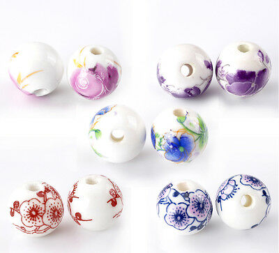 "30PCs HOT SALE Mixed Flower Pattern ROUND Ceramic BEADS 12mm(4/8"")Dia."